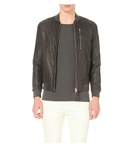 ALLSAINTS Kino leather bomber jacket (Anthracite+gre