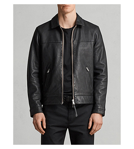 ALLSAINTS Hayne zip-up leather jacket (Black