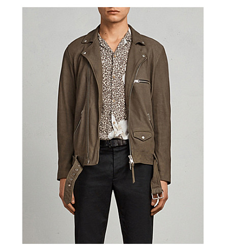 ALLSAINTS Quinn leather biker jacket (Dark+khaki+gre