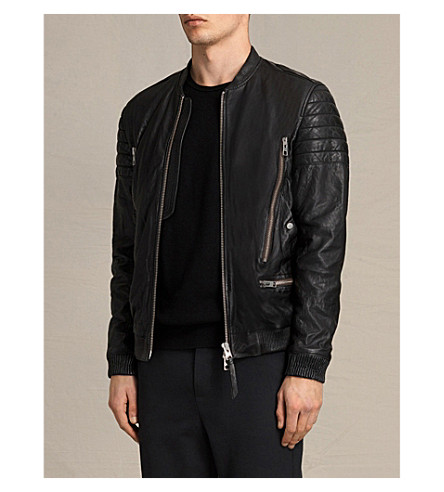 ALLSAINTS Sanderson leather bomber jacket (Black
