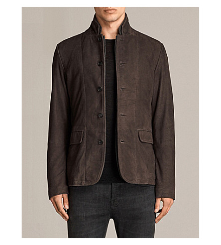 ALLSAINTS Shorley double stand-collar suede jacket (Charcoal/grey