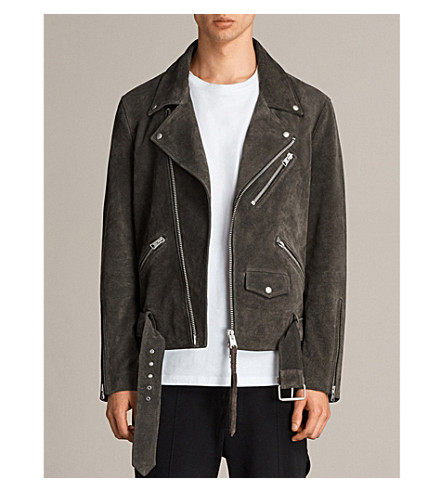 ALLSAINTS Nothing Really Happens Hosoi suede biker jacket (Charcoal