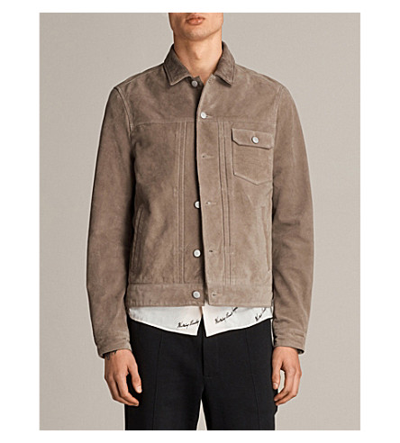 ALLSAINTS Nothing Really Happens Trucker suede jacket (Light+khaki