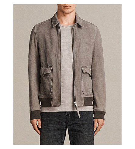 ALLSAINTS Janko leather aviator jacket (Chrome+grey
