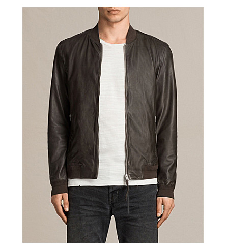 ALLSAINTS Boxley leather bomber jacket (Graphite+grey