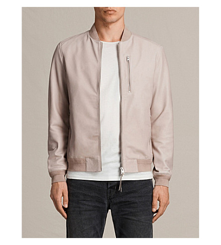 ALLSAINTS Miko leather bomber jacket (Sable+pink