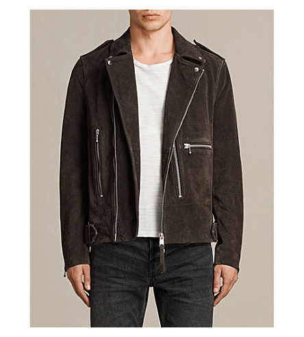 ALLSAINTS Nash suede biker jacket (Charcoal+grey