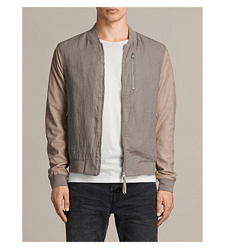 ALLSAINTS Devon linen and leather bomber jacket (Steel/putty