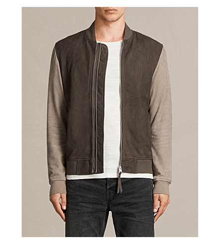 ALLSAINTS Tally suede bomber jacket (Army+grey/shal
