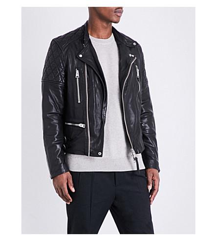 ALLSAINTS Quilted shoulder leather jacket (Black