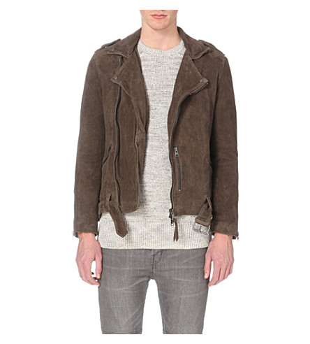 ALLSAINTS Takeo suede biker jacket (Khaki+brown