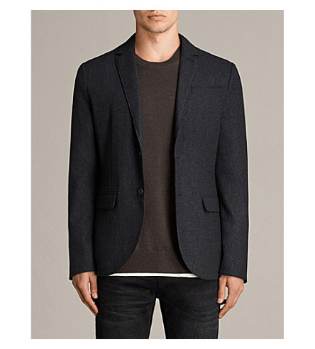ALLSAINTS Bayard tailored-fit wool-blend blazer (Charcoal+marl