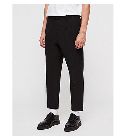 ALLSAINTS Tallis tapered wool-blend trousers (Black