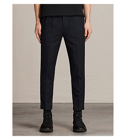 ALLSAINTS Tallis tapered wool-blend trousers (Ink navy