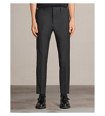 ALLSAINTS Vernon regular-fit wool-blend trousers (Charcoal+grey