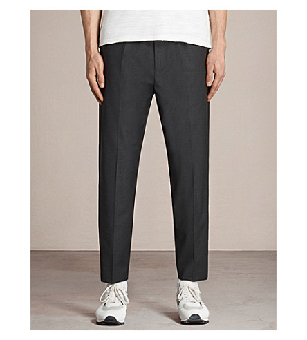 ALLSAINTS Vernon tapered wool-blend trousers (Charcoal+grey
