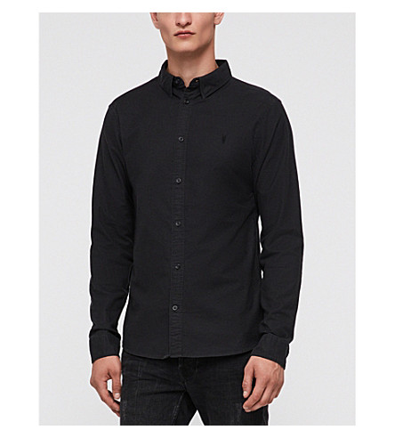 ALLSAINTS Hungtingdon embroidered cotton shirt (Black
