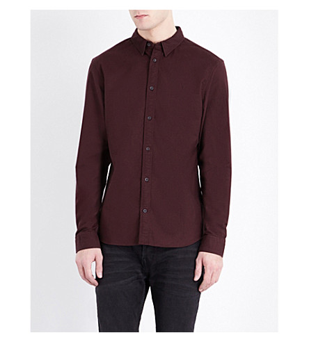 ALLSAINTS Hungtingdon embroidered cotton shirt (Damson+red