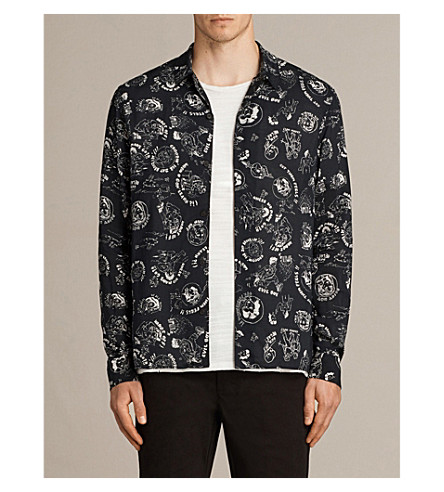 ALLSAINTS Feels cartoon-print woven shirt (Black