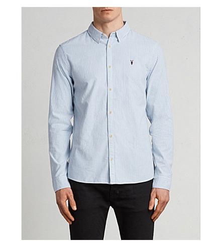 ALLSAINTS Kilda slim-fit striped cotton shirt (Blue+stripe
