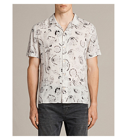 ALLSAINTS Feels cartoon-print woven shirt (Ecru