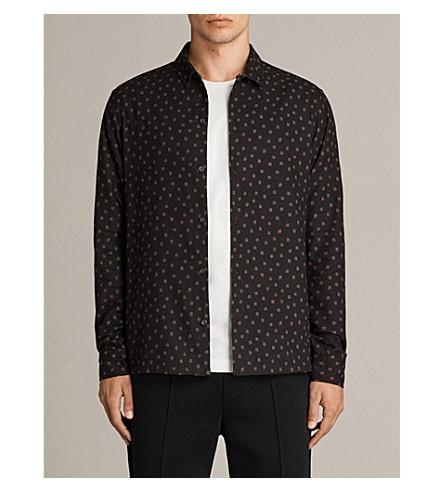 ALLSAINTS Kiefer chilli screen-print brushed flannel shirt (Black