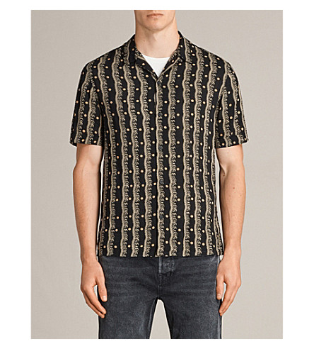 ALLSAINTS Laurel floral-print short-sleeved twill shirt (Black