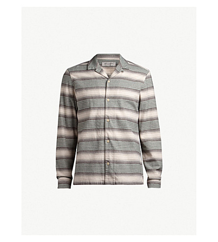 ALLSAINTS Caspere striped flannel shirt (Green