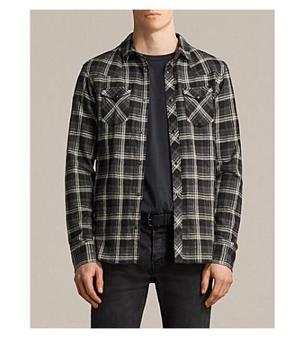 ALLSAINTS Blackroad checked regular-fit cotton-twill shirt (Black