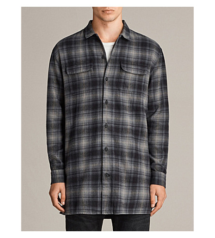 ALLSAINTS Laconia checked brushed-cotton shirt (Moss+grey
