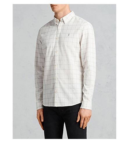 ALLSAINTS Rowhill slim-fit checked cotton shirt (Chalk+white