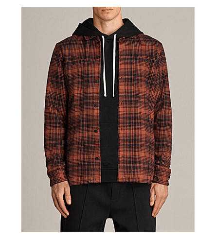 ALLSAINTS Lowell checked slim-fit brushed flannel shirt (Magma+red