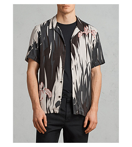 ALLSAINTS Floral-print woven shirt (Black