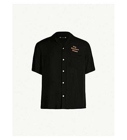 ALLSAINTS Oblivion slim-fit logo-embroidered poplin shirt (Jet black