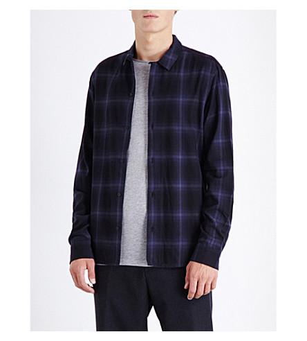 ALLSAINTS Volborg checked regular-fit brushed cotton shirt (Dark+ink