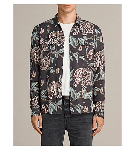 ALLSAINTS Peoria floral-print woven shirt (Black
