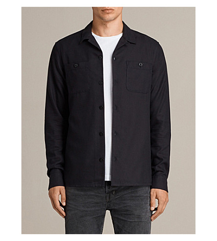 ALLSAINTS Wheeler slim-fit cotton-flannel shirt (Dark+ink