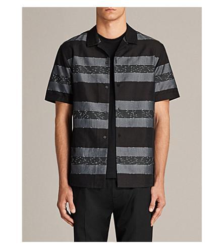 ALLSAINTS 加蓬条纹编织衬衫 (黑色