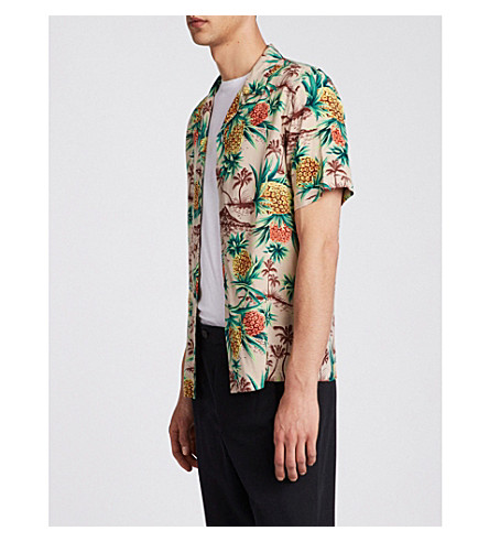 ALLSAINTS Endeavour Hawaiian-print shirt (Mushroom+brown