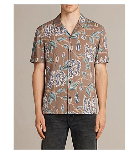 ALLSAINTS Peoria floral-print woven shirt (Brown