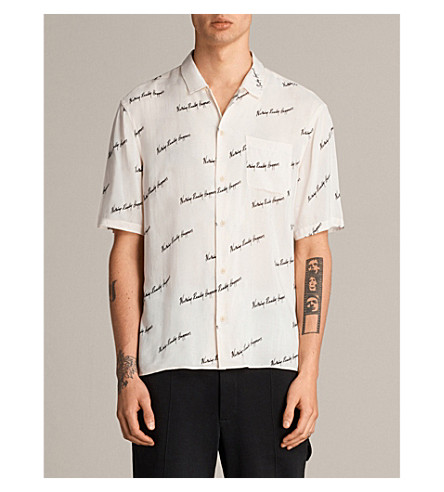 ALLSAINTS Nothing Really Happens Whiteletter woven shirt (Ecru+white