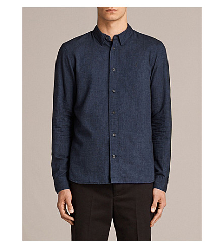 ALLSAINTS Millard chambray-finish cotton shirt (Blue