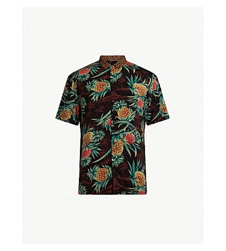 ALLSAINTS 本分夏威夷印花衬衫 (棕色