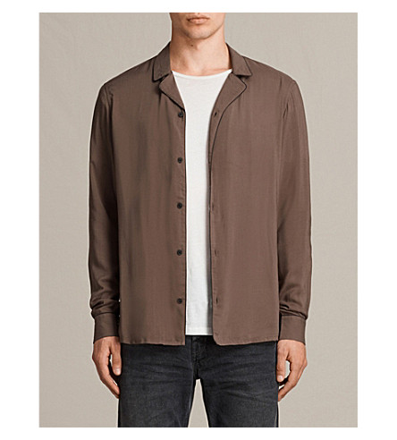 ALLSAINTS Brummel woven shirt (Battle+brown