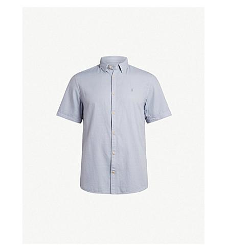 ALLSAINTS Sanborn short-sleeved cotton shirt (Blue