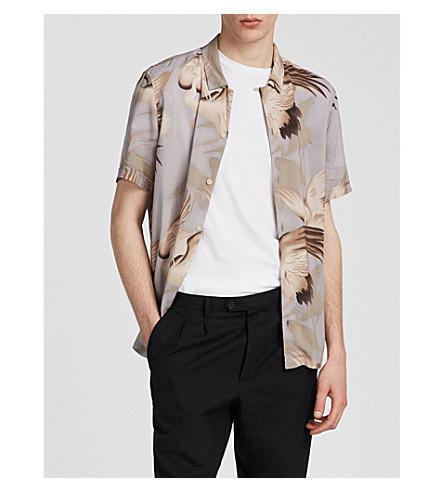 ALLSAINTS Hawaiian Shirt Project Wader regular-fit woven shirt (Chrome+grey