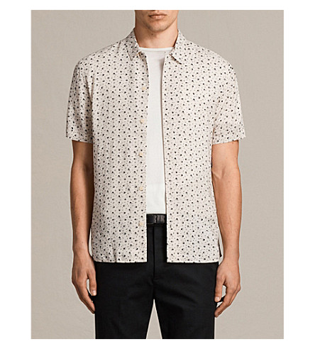 ALLSAINTS New Romantic heart-print woven shirt (Ecru+white