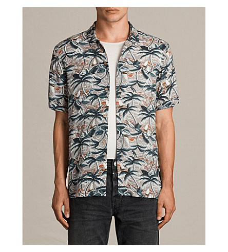 ALLSAINTS Vanuatu slim-fit woven shirt (Concrete+grey