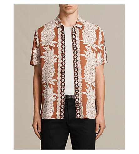 ALLSAINTS Ananas short-sleeved woven shirt (Sunstone+red