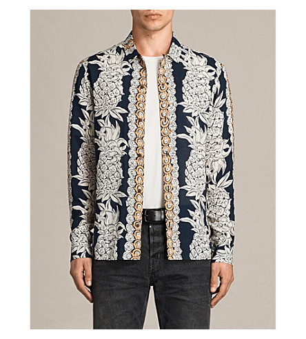 ALLSAINTS Ananas slim-fit pineapple print woven shirt (Ink+navy